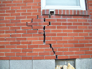 foundation failure, foundation repair, cracks, cracked wall, cracked brick